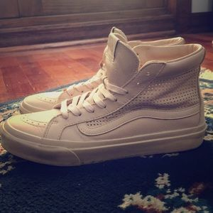 Vans- pink leather high tops